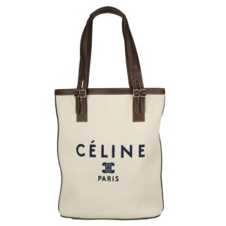 Celine Ivory Logo Canvas Tote Bag