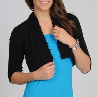 Lennie for Nina Leonard Womens Black Braided Trim Shrug