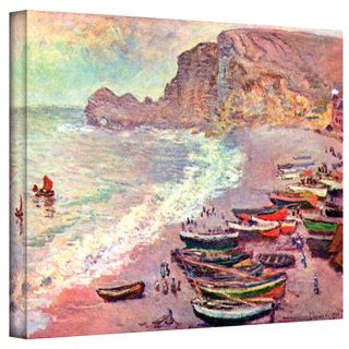 Claude Monet Cliffside Boats Wrapped Canvas