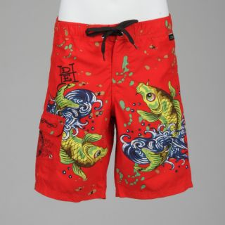 Ed Hardy Boys Koi Fish Print Board Shorts