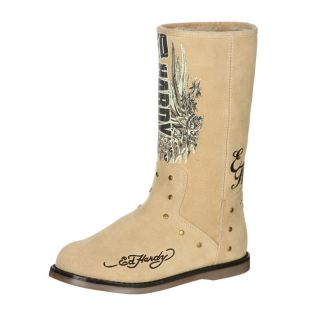 Ed Hardy Womens Montana Tan Fleece Lined Suede Logo Boot