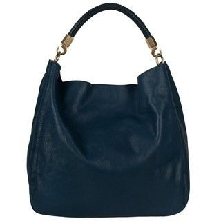 Yves Saint Laurent Large Roady Navy Leather Hobo Bag