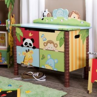 Teamson Sunny Safari Toy Box   Kids Furniture