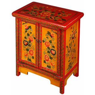 Red and Yellow Tibetan End Table/ Storage Cabinet