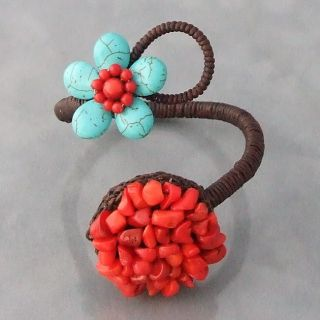 Cotton Rope Turquoise and Red Coral Circle and Flower Cuff (Thailand