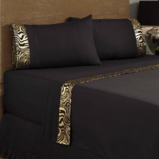 Divatex Home Fashions 230 Thread Count Satin Sheet Set   Zebra Stripe