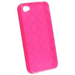 Clear Hot Pink Circle TPU Rubber Case for Apple iPhone 4
