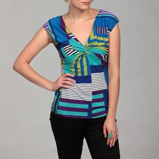 AnnaLee and Hope Womens Blue Multi Twist Top