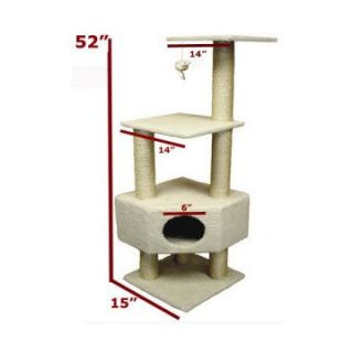 Majestic Pet 52 in. Bungalow Sherpa Cat Tree   Cat Trees