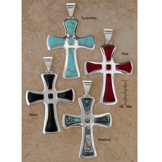 Sterling Silver Fluted Stone Cross Pendant (Mexico)