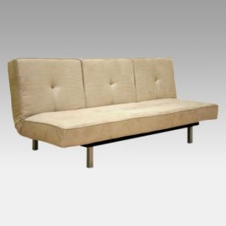 Artie Split Back Microfiber Convertible Sofa Bed   Beige   Futons at