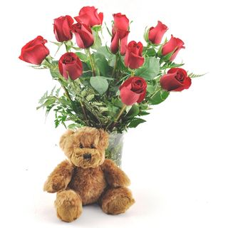 Valentines Day Pre Order) One Dozen Red Roses with Plush Teddy Bear