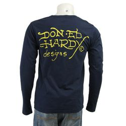 Ed Hardy Mens Death Before Dishonor Navy Shirt