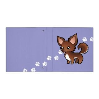 Cartoon Chihuahua (chocolate and white long coat) binders by