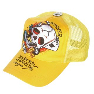 Ed Hardy Mens Skull Dice Yellow Hat