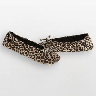 Isotoner Cheetah Satin Ballerina Slippers