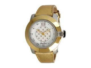 Glam Rock SoBe 44mm Stainless Steel Gold Plated Watch with Saffiano