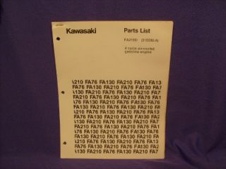 Kawasaki FA210D Parts List 4 Cycle Gas Engine