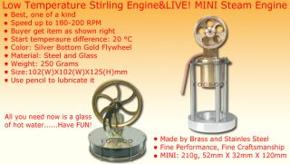 Low Temperature Stirling Engine Live Mini Steam Engine Power P3