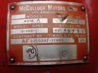 McCulloch 4318 A Aircraft Engine WWII Military Drone