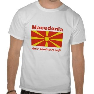 Mazedonien Flagge + Karte + Text T Shirt
